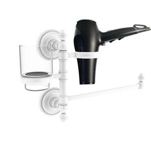Prestige Regal Matte White Seven-Inch Hair Dryer Holder and Organizer