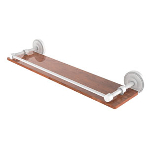 Prestige Regal Matte White 22-Inch Solid IPE Ironwood Shelf with Gallery Rail