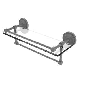 Prestige Regal Matte Gray 16-Inch Glass Shelf with Towel Bar