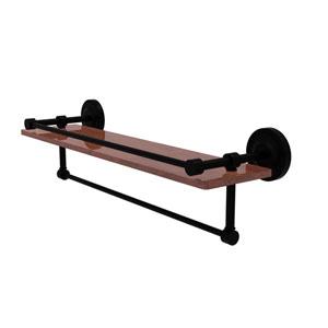 Prestige Regal Matte Black 22-Inch IPE Ironwood Shelf with Gallery Rail and Towel Bar