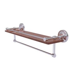 Prestige Regal Satin Chrome 22-Inch IPE Ironwood Shelf with Gallery Rail and Towel Bar