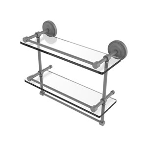 Prestige Regal Matte Gray 16-Inch Double Glass Shelf with Towel Bar
