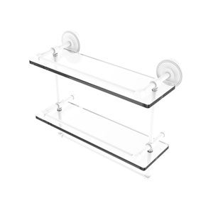 Prestige Regal Matte White 16-Inch Double Glass Shelf with Towel Bar