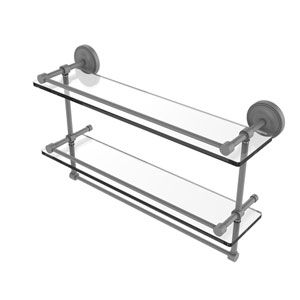 Prestige Regal Matte Gray 22-Inch Double Glass Shelf with Towel Bar