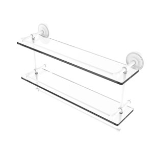 Prestige Regal Matte White 22-Inch Double Glass Shelf with Towel Bar