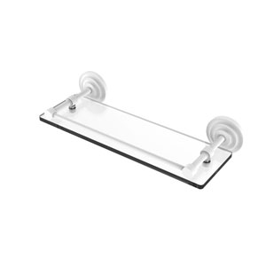 Que New Matte White 16-Inch Tempered Glass Shelf with Gallery Rail