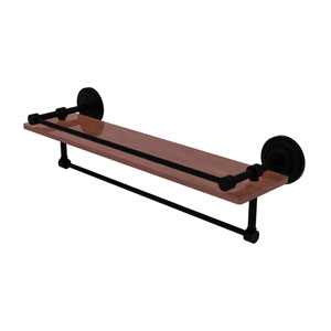 Que New Matte Black 22-Inch IPE Ironwood Shelf with Gallery Rail and Towel Bar