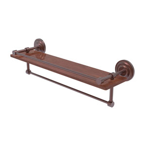 Que New Antique Copper 22-Inch IPE Ironwood Shelf with Gallery Rail and Towel Bar
