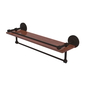 Que New Oil Rubbed Bronze 22-Inch IPE Ironwood Shelf with Gallery Rail and Towel Bar
