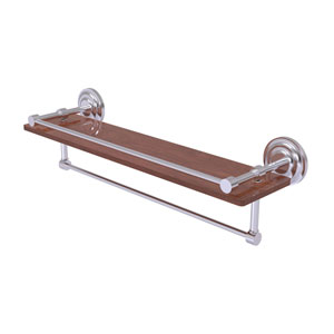 Que New Satin Chrome 22-Inch IPE Ironwood Shelf with Gallery Rail and Towel Bar
