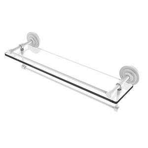 Que New Matte White 22-Inch Glass Shelf with Towel Bar