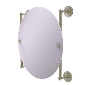 Que New Polished Nickel 22-Inch Round Frameless Rail Mounted Mirror
