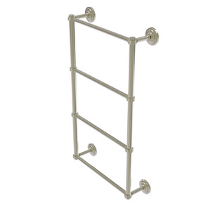 Que New Polished Nickel 24-Inch Four Tier Ladder Towel Bar with Groovy Detail