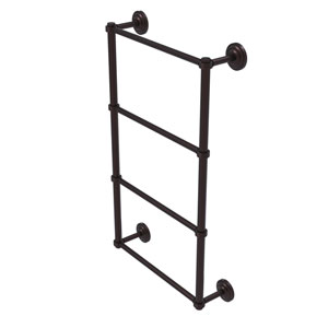 Que New Antique Bronze 30-Inch Four Tier Ladder Towel Bar with Groovy Detail