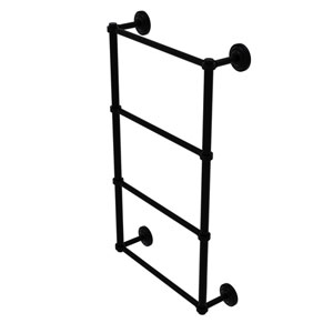 Que New Matte Black 30-Inch Four Tier Ladder Towel Bar with Groovy Detail