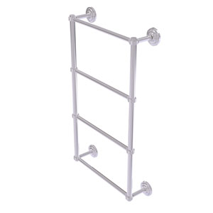 Que New Polished Chrome 30-Inch Four Tier Ladder Towel Bar with Groovy Detail