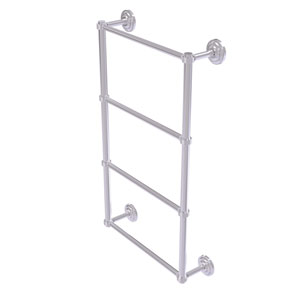 Que New Satin Chrome 30-Inch Four Tier Ladder Towel Bar with Groovy Detail