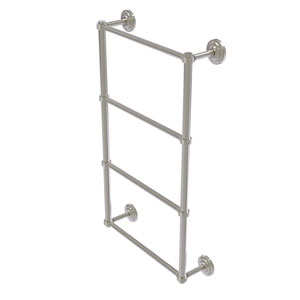 Que New Satin Nickel 30-Inch Four Tier Ladder Towel Bar with Groovy Detail