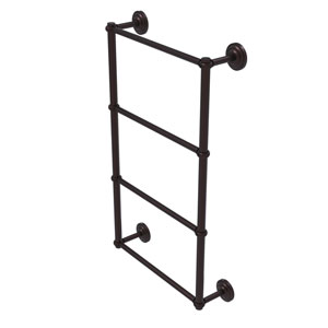 Que New Antique Bronze 24-Inch Four-Tier Ladder Towel Bar with Twisted Detail