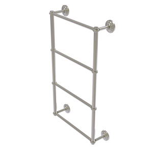 Que New Satin Nickel 30-Inch Four-Tier Ladder Towel Bar with Twisted Detail