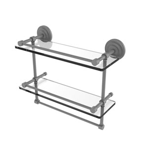 Que New Matte Gray 16-Inch Double Glass Shelf with Towel Bar