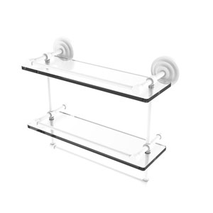 Que New Matte White 16-Inch Double Glass Shelf with Towel Bar