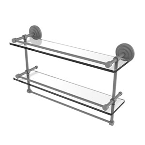 Que New Matte Gray 22-Inch Double Glass Shelf with Towel Bar