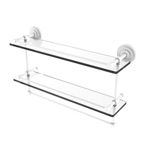 Que New Matte White 22-Inch Double Glass Shelf with Towel Bar