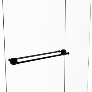 Que New Matte Black 30-Inch Back to Back Shower Door Towel Bar