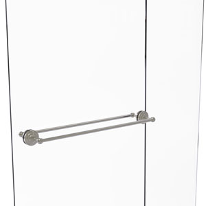 Que New Satin Nickel 30-Inch Back to Back Shower Door Towel Bar