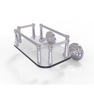 Que New Polished Chrome Eight-Inch Wall Mounted Glass Guest Towel Tray