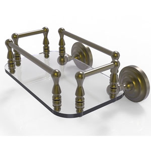Que New Antique Brass Eight-Inch Wall Mounted Glass Guest Towel Tray