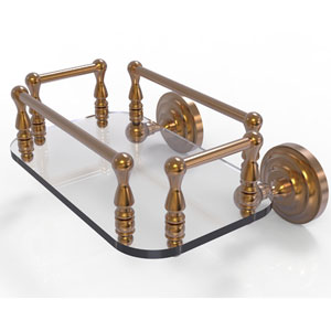 Que New Brushed Bronze Eight-Inch Wall Mounted Glass Guest Towel Tray