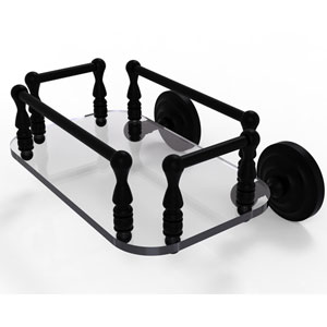 Que New Matte Black Eight-Inch Wall Mounted Glass Guest Towel Tray