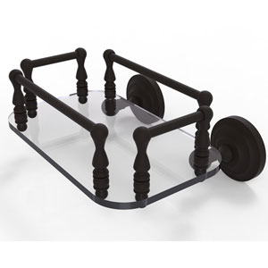 Que New Oil Rubbed Bronze Eight-Inch Wall Mounted Glass Guest Towel Tray
