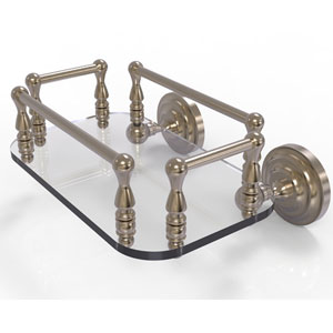 Que New Antique Pewter Eight-Inch Wall Mounted Glass Guest Towel Tray