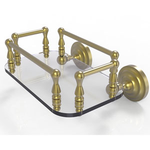 Que New Satin Brass Eight-Inch Wall Mounted Glass Guest Towel Tray