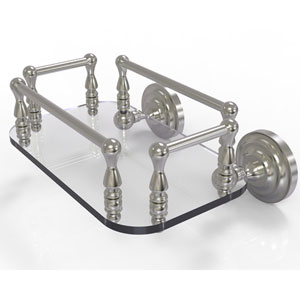 Que New Satin Nickel Eight-Inch Wall Mounted Glass Guest Towel Tray
