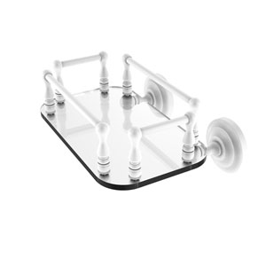 Que New Matte White Eight-Inch Wall Mounted Glass Guest Towel Tray