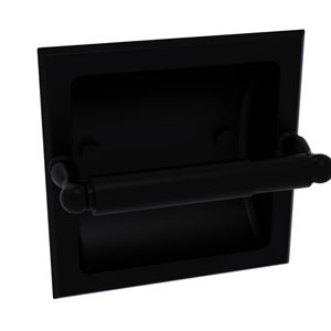 Regal Matte Black Six-Inch Recessed Toilet Tissue Holder