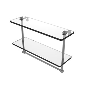 Matte Gray 16-Inch Two Tiered Glass Shelf with Integrated Towel Bar