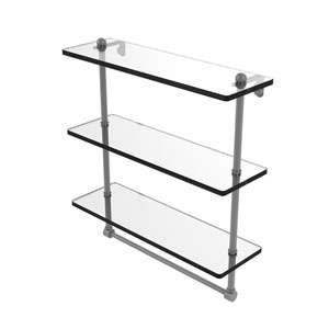 Matte Gray 16-Inch Triple Tiered Glass Shelf with Integrated Towel Bar