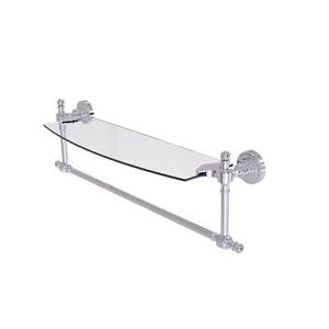 Retro Dot Polished Chrome 18-Inch Glass Vanity Shelf with Integrated Towel Bar