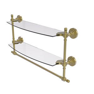 Retro Dot Satin Brass 18-Inch Two Tiered Glass Shelf with Integrated Towel Bar