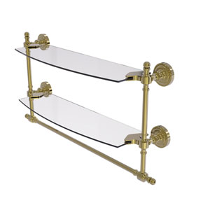 Retro Dot Unlacquered Brass 18-Inch Two Tiered Glass Shelf with Integrated Towel Bar