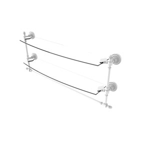 Retro Dot Matte White 24-Inch Two Tiered Glass Shelf with Integrated Towel Bar