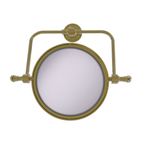 Retro Dot Unlacquered Brass Seven-Inch Wall Mounted Swivel Make-Up Mirror with 4X Magnification