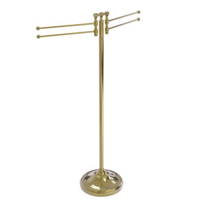 Retro Dot Unlacquered Brass 11-Inch Towel Stand with Four-Pivoting Swing Arms