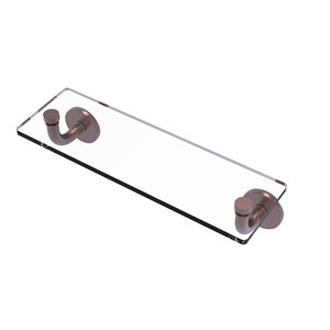Remi Antique Copper 16-Inch Glass Vanity Shelf with Beveled Edges