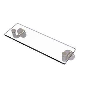 Remi Satin Nickel 16-Inch Glass Vanity Shelf with Beveled Edges